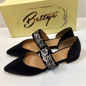 Anthropologie Bettye Muller Black Velvet Flat Shoe